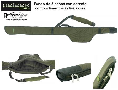Pelzer Executive Triple Rod Sleeve 13 Ft (cañas de 3,90m) con compartimentos individuales