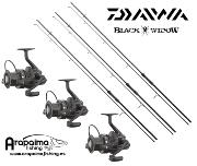 OFERTA PACK STALKER: 3 Cañas Daiwa Black Widow 10 pies + 3 Carretes Daiwa Black Widow 5000A