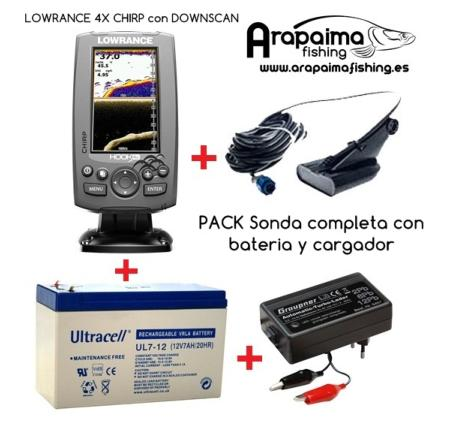 OFERTA PACK: LOWRANCE HOOK 4X CHIRP CON DOWNSCAN + BATERIA + CARGADOR