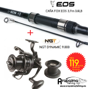 OFERTA: FOX EOS 13' (3,90 m) 3,5 lb anilla de 50 mm + Carrete NGT Dynamic 9000