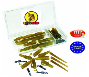 EXTRACARP LEAD CLIP SET con enganches rapidos y ANTI TANGLE SLEEVES