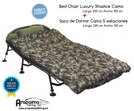 OFERTA PACK! Bed Chair Shadow Camo Bedchair + saco camo 5 estacioes
