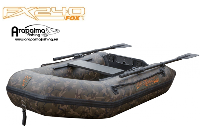 FOX FX240 CAMO INFLATABLE BOAT INC. HARD MARINE PLY FLOOR
