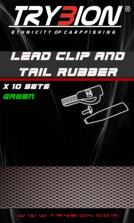 TRYBION TACKLE LEAD CLIP AND TAIL RUBBER CON PIN VERDE