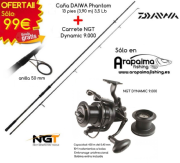 OFERTA PACK: Daiwa Phantom 13' (3,90 m) 3,5 lb anilla de 50 mm + Carrete NGT Dynamic 9000